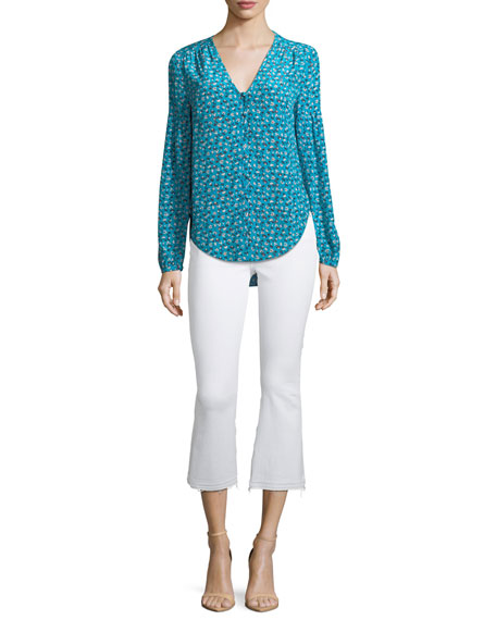 Roca V-Neck Button-Front Floral-Print Silk Blouse