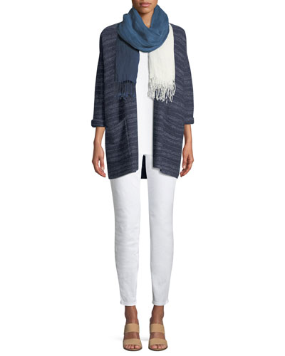 Striped Denim Kimono Cardigan, Plus Size and Matching Items