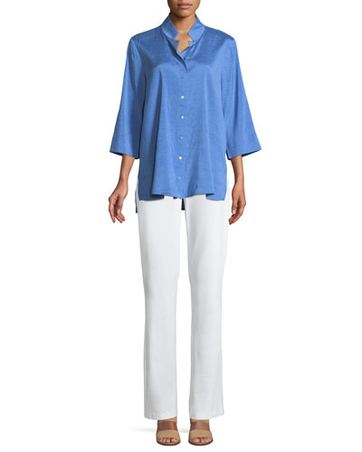 Doupioni Stand-Collar Silk Shirt, Plus Size and Matching Items