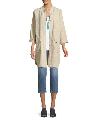 Organic Linen Mandarin-Collar Jacket, Plus Size and Matching Items