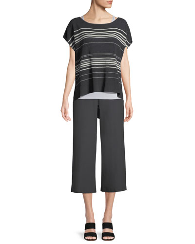 Striped Short-Sleeve Poncho Top, Petite and Matching Items