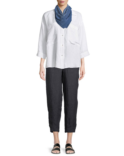 Denim-Wash Linen Ankle Pants, Plus Size and Matching Items