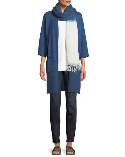 Heathered Linen-Blend Kimono-Sleeve Cardigan, Plus Size and Matching Items
