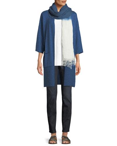 Heathered Linen-Blend Kimono-Sleeve Cardigan, Plus Size and Matching Items