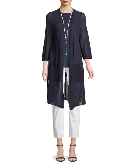 Linen-Blend Belted Cardigan, Plus Size