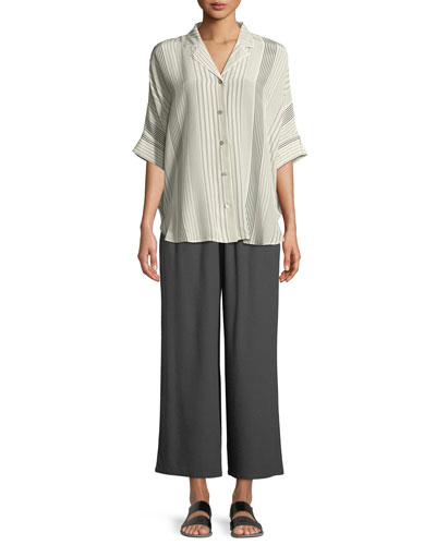 Striped Silk Half-Sleeve Shirt, Petite  and Matching Items