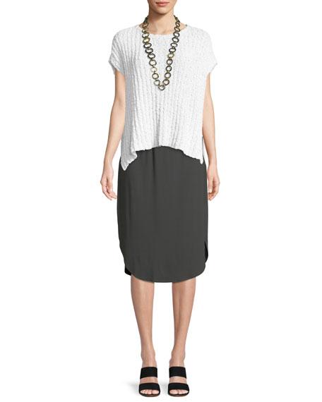 Rail-Knit Short-Sleeve Sweater