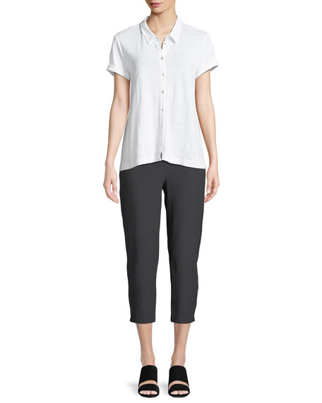 Organic Linen Button-Front Top, Plus Size