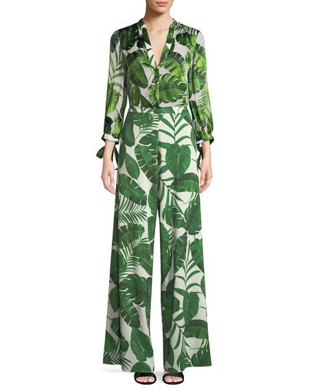 Sheila Palm-Print Tie-Cuff Blouse