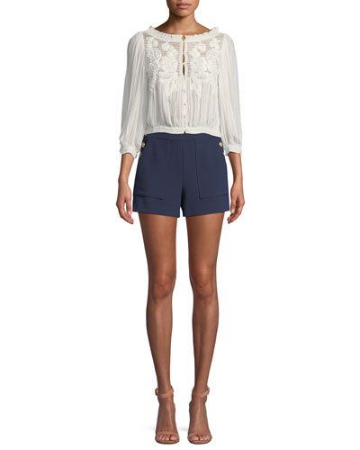 Donald High-Waist Side-Button Woven Shorts and Matching Items