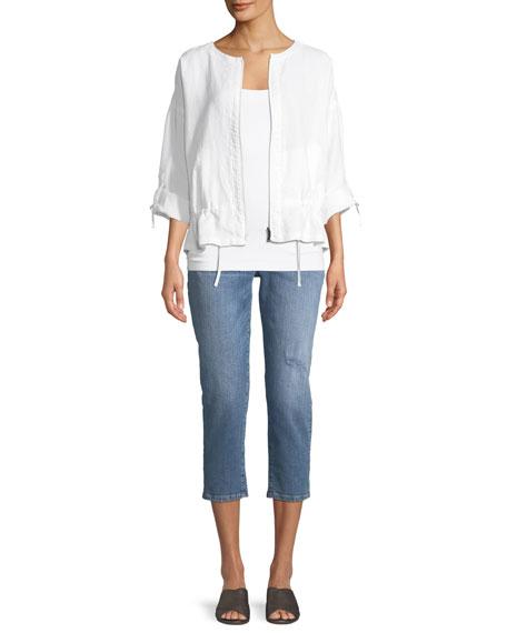 Heavy Linen Short Drawstring Jacket, Petite