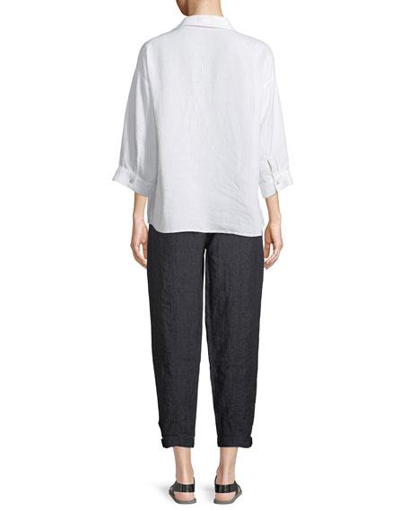 3/4-Sleeve Linen-Blend Boxy Shirt