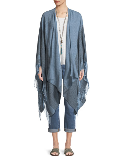 Reclaimed Cotton Twill Striped Open Poncho and Matching Items