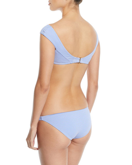 Capri Off-the-Shoulder Striped Swim Top
