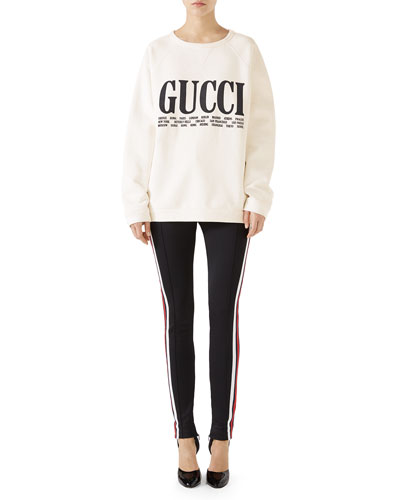 Light Felted Cotton Sweatshirt w/ Gucci Cities on Front and Matching Items