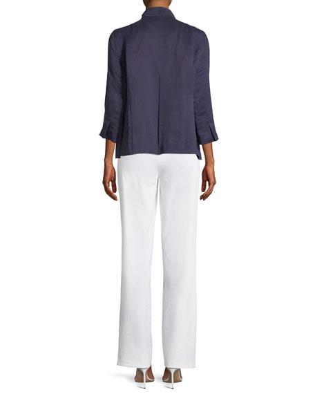 Linen/Silk Satin 3/4-Sleeve Jacket