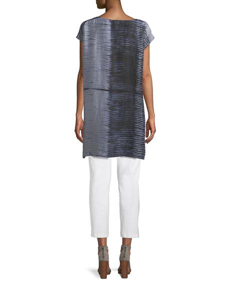 Indigo-Printed Sheer Silk Tunic