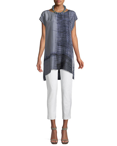 Indigo-Printed Sheer Silk Tunic and Matching Items
