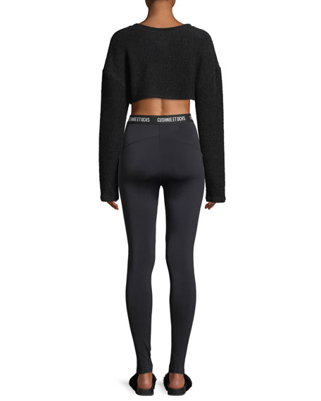 Nicolette Crewneck Long-Sleeve Cropped Top
