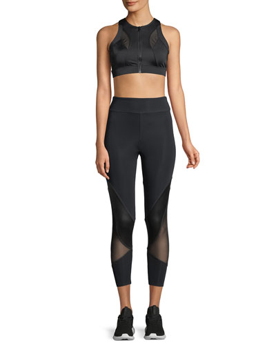 Amelie Cropped Leggings w/ Mesh Panels and Matching Items