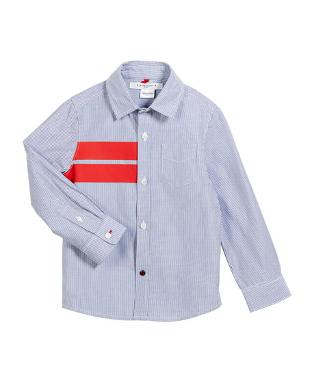 Striped Button-Down Shirt w/ Red Details, Size 4-5