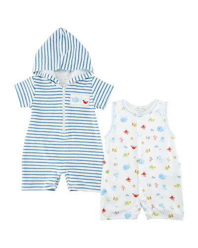 Ocean Treasures Striped Hooded Beach Romper, Size 3-24 Months  and Matching Items