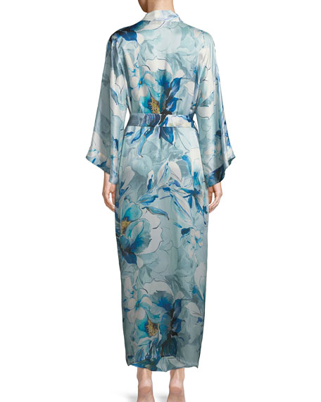 Swept Away Long Silk Robe