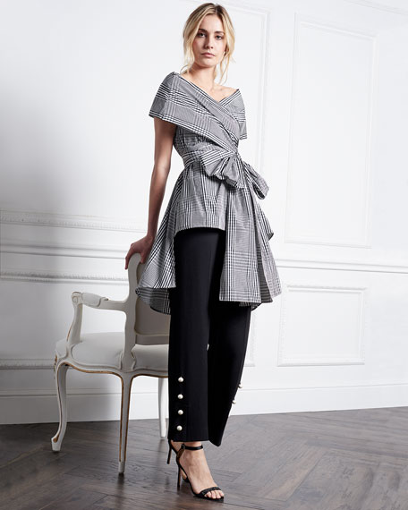 Open-Neck Coated Plaid Wrap Top