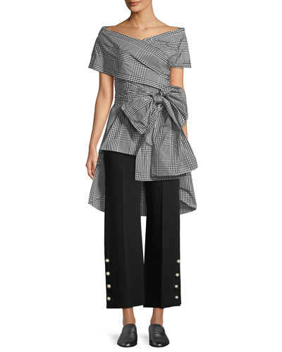 Open-Neck Coated Plaid Wrap Top and Matching Items