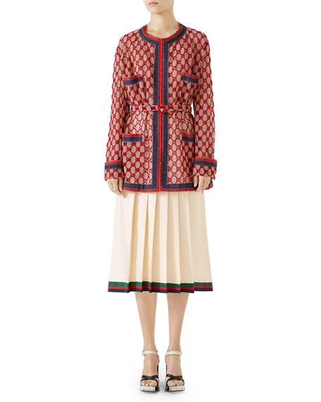 GG Macramé Oversized Jacket with Detachable Grosgrain Belt