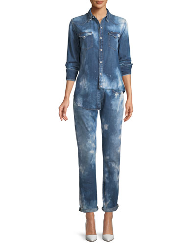 Mid-Rise Straight-Leg Coastal Denim Jeans  and Matching Items