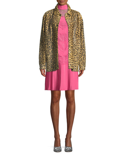 Leopard-Print Calf Hair Snap-Front Coat and Matching Items