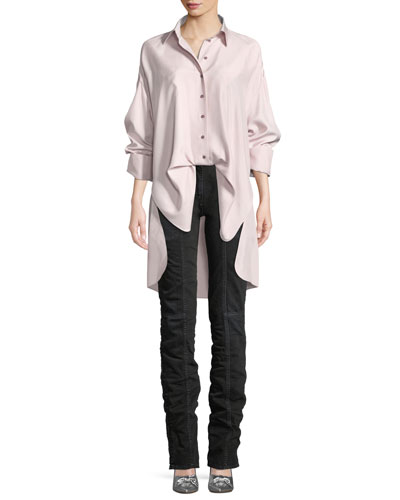 Button-Front Long-Sleeve Open-Back Oversized Silk Blouse and Matching Items