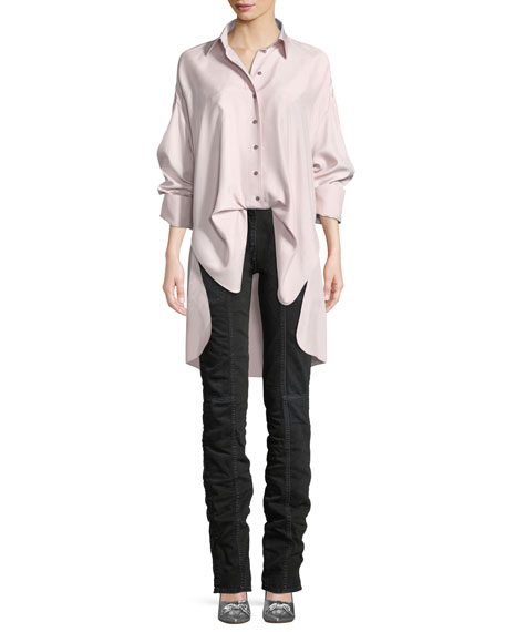 Button-Front Long-Sleeve Open-Back Oversized Silk Blouse