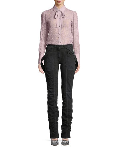 Button-Down Lace Blouse with Necktie  and Matching Items
