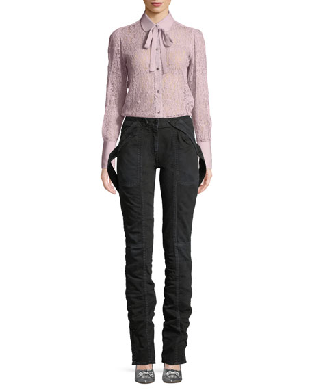 Button-Down Lace Blouse with Necktie