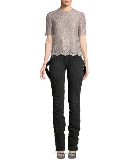 Short-Sleeve Lurex® Metallic Lace Blouse