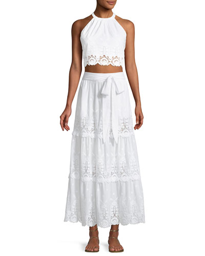 Carina Embroidered Tiered Lace Maxi Skirt and Matching Items