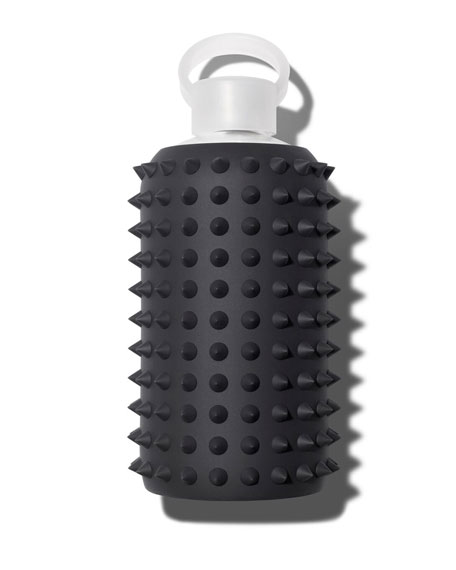 Glass Water Bottle, Spiked Jet, 34 oz./ 1L