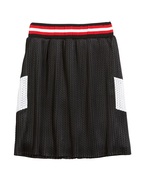 Two-Tone Pleated Mesh Skirt, Size 6-10