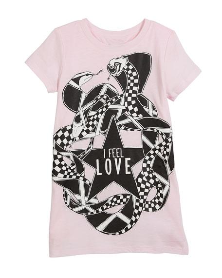 I Feel Love Snakes Jersey Shirt Dress, Size 4-5