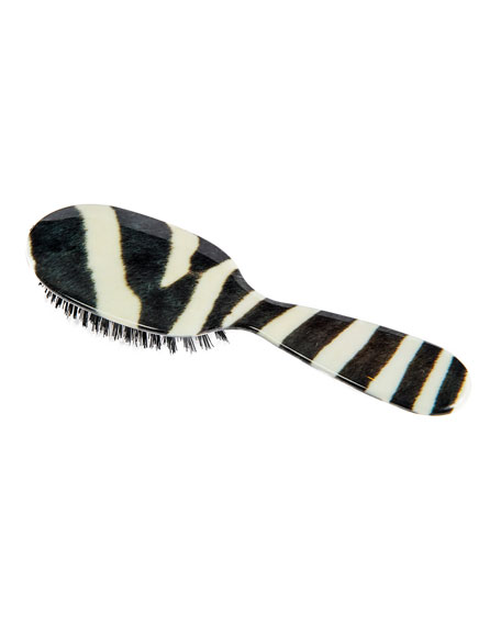 Small Zebra-Print Mixed Bristle Hairbrush