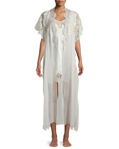 Beloved Lace-Trim Long Silk Robe and Matching Items