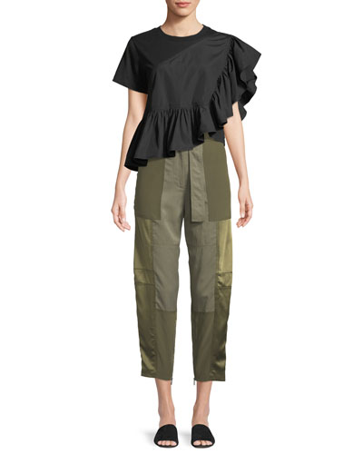 Belted Patchwork Cargo Pants and Matching Items