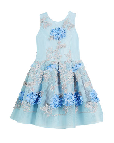Perforated Mesh Flower-Embroidered Dress, Size 2-6X and Matching Items