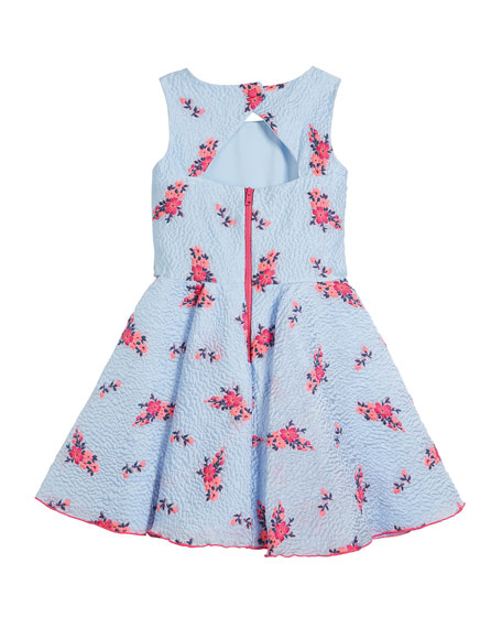 Textured Floral Organza Pocket Dress, Size 2-6X