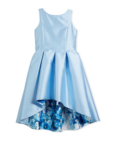 Matte Sateen Floral High-Low Dress, Size 4-6X