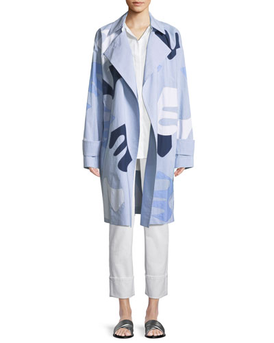 Laurita Sartorial Stripe Coat with Appliqués and Matching Items