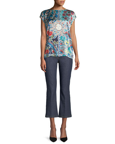 Sundial Floral-Print Cap-Sleeve Tee w/ Knit Back and Matching Items