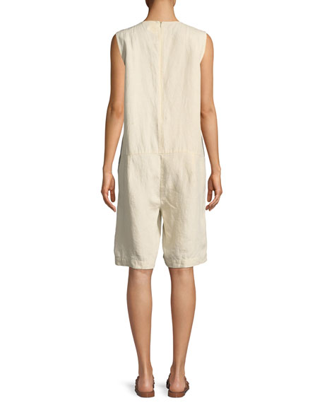 Sleeveless Organic Linen Short Jumpsuit
